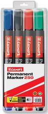 Luxor permanent marker 250 ronde punt zwart, blauw, rood en groen