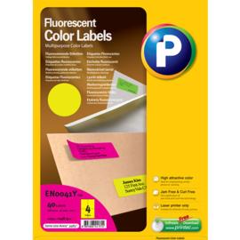Printec verzendlabel neon geel 105 x 148,5 mm 4 etiketten per vel