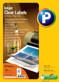 Printec Inktjet Clear label 210 x 297 1 etiketten per vel