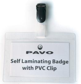Pavo zelf lamineer badges met clip 54 x 90 mm 25 st.