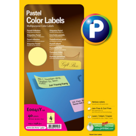 Printec verzendlabel pastel geel 105 x 148,5 mm 4 etiketten per vel