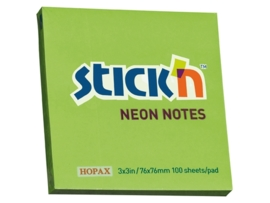 Memoblok Stick'n 76x76mm neon groen
