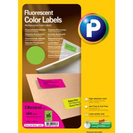 Printec verzendlabel neon groen 105 x 37 mm 16 etiketten per vel