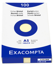 EXACOMPTA-indexkaarten A5, (B) 148 x (H) 210 mm, 205 g, blanco,