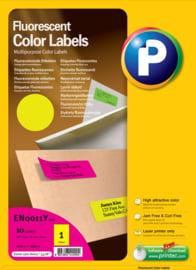 Printec verzendlabel neon geel 210 x 297 mm 1 etiketten per vel