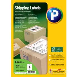 Printec verzendlabel 105 x 148,5 mm 4 etiketten per vel