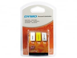 Labeltape Dymo Letratag 91240 3-pack assorti