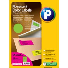 Printec verzendlabel neon groen 210 x 297 mm 1 etiketten per vel