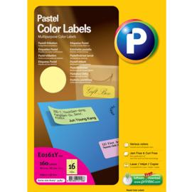 Printec verzendlabel pastel geel 105 x 37 mm 16 etiketten per vel