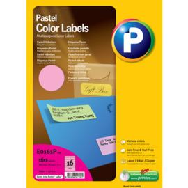 Printec verzendlabel pastel roze 105 x 37 mm 16 etiketten per vel