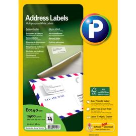 Printec adreslabel 99,1 x 38,1 mm 14 etiketten per vel