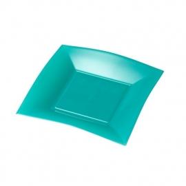 Depa Bord, vierkant, dessertbord, PP, 180x180mm. tiffany. 25 st.