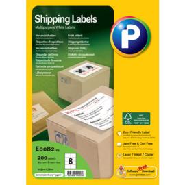 Printec verzendlabel 105 x 70 mm 8 etiketten per vel
