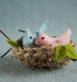 Vogelnestje (blauw/roze)