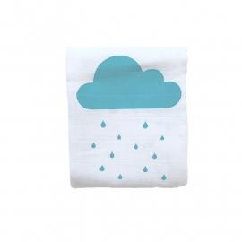 Hydrofiele doek Regenwolkjes Blauw