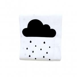 Hydrofiele doek Regenwolkjes Zwart