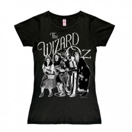 T-Shirt Petite The Wizard of Oz - Dorothy and Friends b/w - Black
