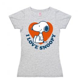 T-Shirt Petite Peanuts - I Love Snoopy - Grey Melange