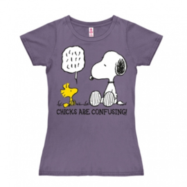 T-Shirt Petite Peanuts - Chicks Are Confusing - Lavender