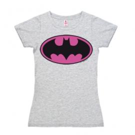 T-Shirt Petite Batman - Logo - Pink - Grey Melange