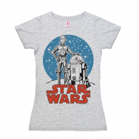 T-Shirt Petite Star Wars - Droids - Grey Melange