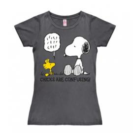 T-Shirt Petite Peanuts - Chicks Are Confusing - Dark Grey