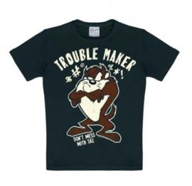 T-Shirt Kids Looney Tunes - Tasmanian Devil - Trouble Maker - Black