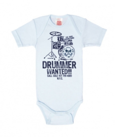 Baby Romper Drummer Wanted - Pastel Blue