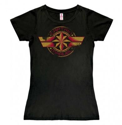 T-Shirt Petite Marvel - Captain Marvel - Logo - Black
