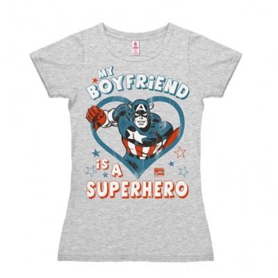 T-Shirt Petite Marvel - My Boyfriend is a Superhero - Grey Melange