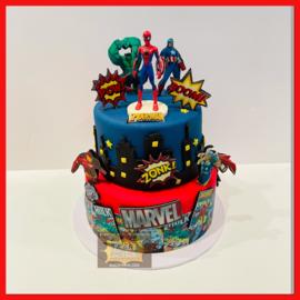 Superhelden strip taart 16 personen