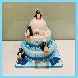 Pinguin Pingu taart 24 personen 3 lagen