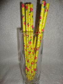 Cakepop stokjes - Rietjes - Felgeel met roze roosjes 25 stuks