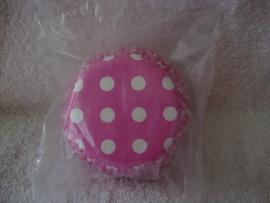 Cupcake vormpjes Polkadot roze 40 stuks