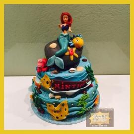 De kleine zeemeermin/ mermaid taart 24 personen 3 lagen