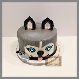 Hond/ Husky taart 10 personen