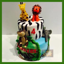 Wilde dieren taart olifant/ giraffe/ leeuw/ aap 16 personen