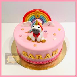 Eenhoorn/ unicorn 3D taart 10 personen
