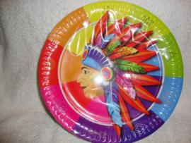 Indianen papieren borden - 8 stuks