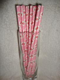 Cakepop stokjes - Rietjes - Roze met rode roosje 25 stuks