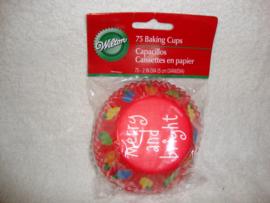 Cupcake vormpjes Kerst Merry and bright 75 stuks Wilton - 415-1596