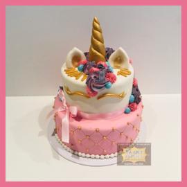 Eenhoorn/ unicorn roze raster taart 16 personen