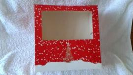 Taartdoos met venster - 19x19x8 cm (kerst)