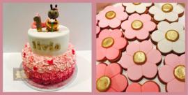Bijtjes taart ombre opgespoten rozetten & 6 koekjes 16 personen