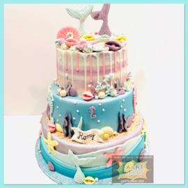 Zeemeermin taart 24 personen 3 lagen