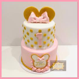 Minnie Oren en Strik  taart 16 personen