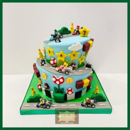 Mario kart taart 16 personen (Autootjes  niet meegeleverd)