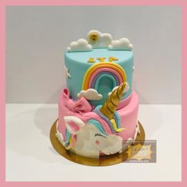 Platte eenhoorn/ unicorn taart 16 personen