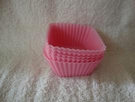 Vierkante siliconen cupcake vormpjes