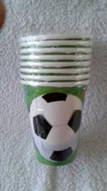 Voetbal papierenbekers - 8 stuks